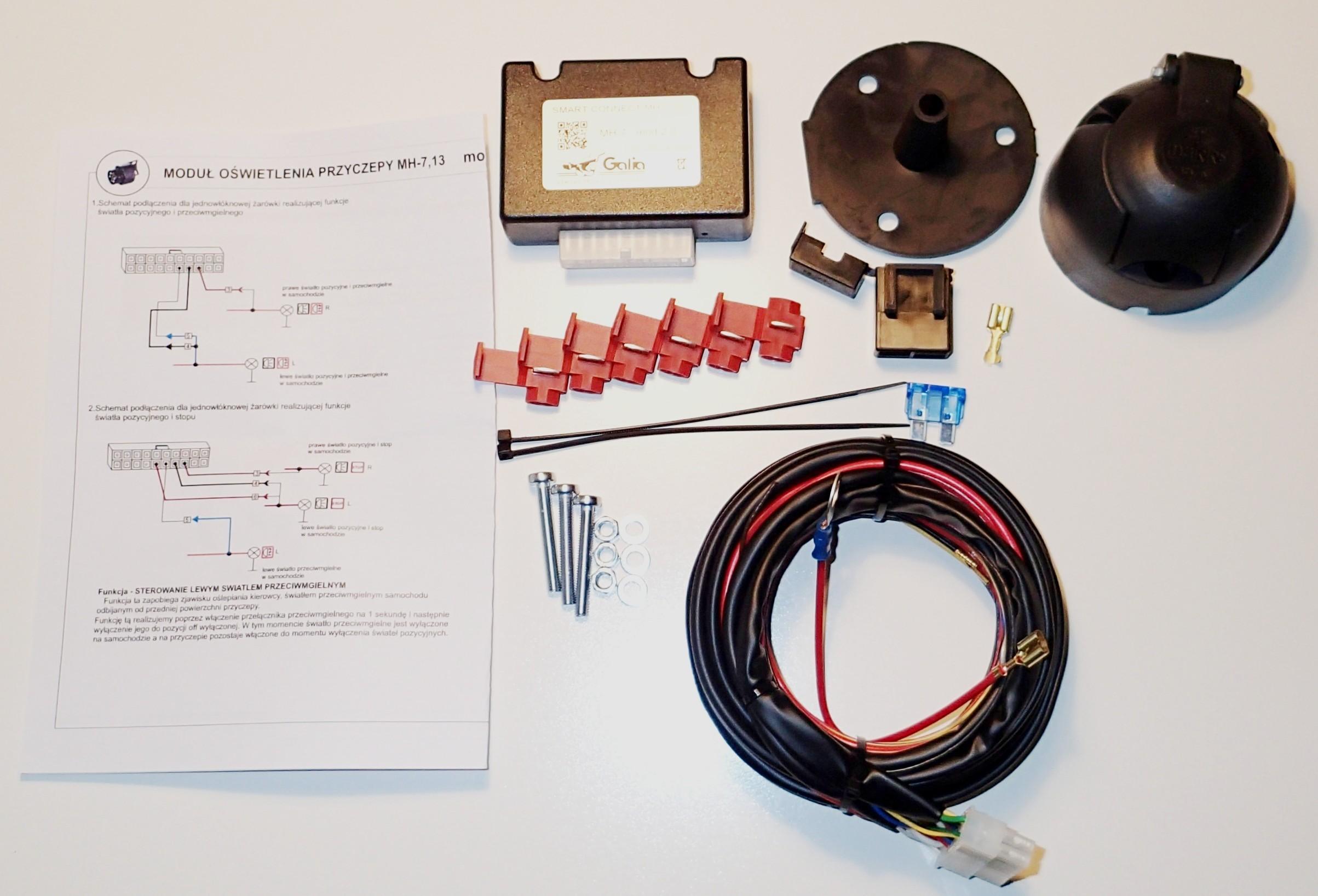 Wszystkie nowe Wiązka elektryczna z modułem i gniazdem 7 pin - Haki holownicze GF53